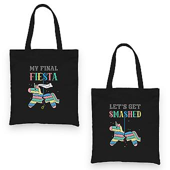 Final Fiesta Smashed Pinata BFF Matching Canvas Bags Black Silly