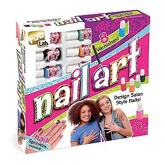 FabLab Nail Art Kit comprende 8 diverse nail polish 8 anni e fino