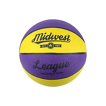 Midwest League Outdoor Recreational Mini Rubber Basketball Ball Jaune/Purple