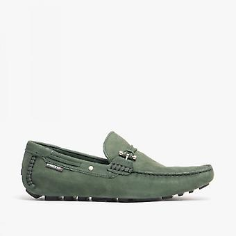 Front Emerson Mens Nubuck Penny Driving Loafers Green