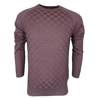 883 Police Lohas Cotton Ribbed Burgundy Thin Knitwear Jumper