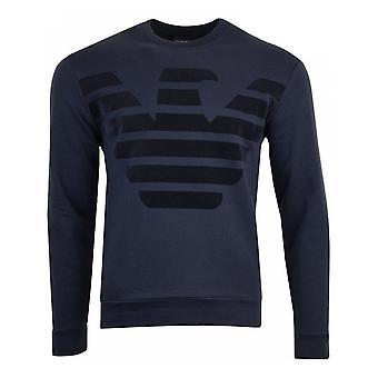 Emporio Armani Cotton Round Eagle Logo Navy Sweatshirt