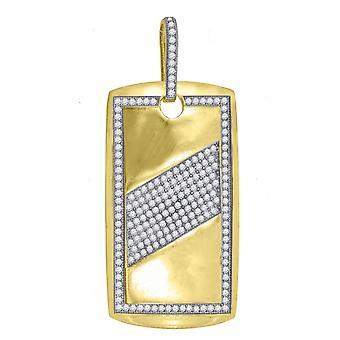 10kゴールドツートーンCZキュービックジルコニアシミュレートダイヤモンドメンズ高さ56.9mm X幅27.4mmアニマルペットドッグタグチャームペンダント