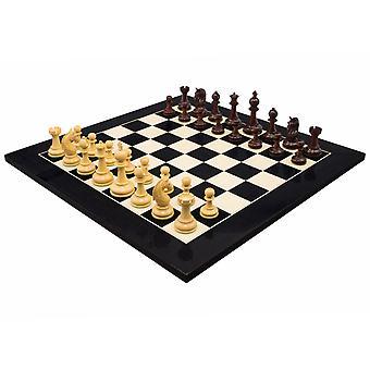 Valletta Redwood & Gloss Black Luxury Chess Set