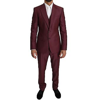 Dolce & Gabbana Purple Wool 3 Piece Double Breasted Suit