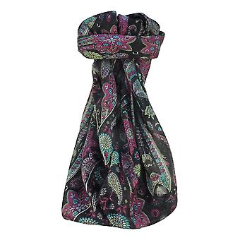 Mulberry Silk Traditional Square Scarf Ravi Black by Pashmina & Silk