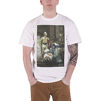 Star Wars T Shirt Force Awakens Three Droids BB 8 Official Mens White