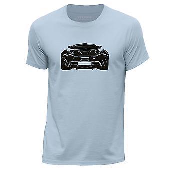 STUFF4 Mannen ronde hals T-T-shirt/Stencil auto Art / P1 achterzijde/Sky blauw
