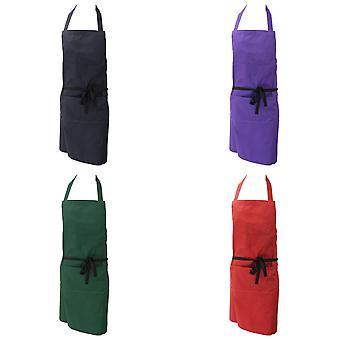 Dennys Ladies/Womens Polycotton Bib Workwear Apron With Pocket