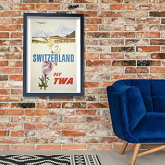Fly TWA Switzerland Poster Print Giclee