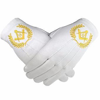 Masonic regalia 100% cotton gloves square compass and g yellow 2 x pair