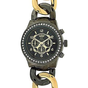 Prince London Black & Goldtone Chrono Effect ladies Metal Bracelet Watch PI-7012