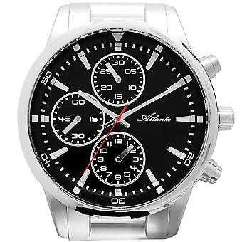 אטלנטה 4405 קיר שעון קוורץ הכרונוגרף שקטה כסף אופטי ללא תקתוק