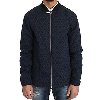 Black Blue Jacquard Print Mens Jacket -- JKT2201456
