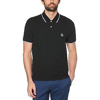 Original Penguin Sticker Pete Tipped Pique Polo Shirt Black 67