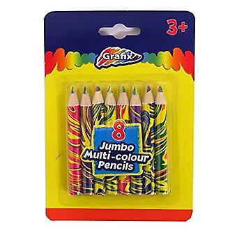 Grafix Jumbo Rainbow Tip kleurpotloden, 8 Pack