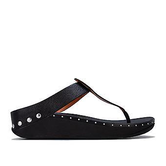 Women's Fit Flop Isabelle Stud Toe Thong Sandals in Black
