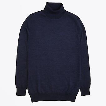 Thomas Maine  - Herringbone Roll-neck Knit - Navy