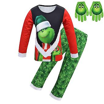 Christmas Grinch Pajamas And Face Print Gloves