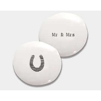 Mr & Mrs Porcelain Pebble - Cracker Filler Cadeau