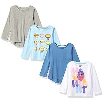 Brand - Spotted Zebra Girls' Little Kid 4-Pack Long-Sleeve T-Shirts, B...