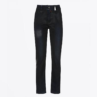 HIGH  - Thrive - Cotton Waxed Jeans With Patch - Blue
