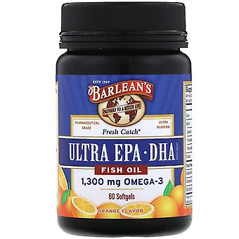 Barlean's, Fresh Catch Fish Oil, Omega-3, Ultra EPA/DHA, Orange Flavor, 60 Softg