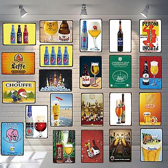 Beer Plaque Tin Sign Metal Plates For Wall Home Art Retro Bar Cafe Shop Vintage