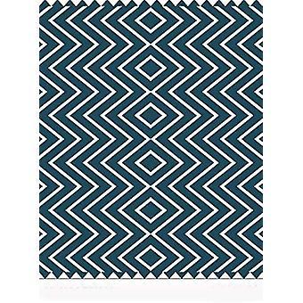 Spura Home Hack Blue Chevron Printed Hand Made Transitional 8x10 Area Rug Carpet