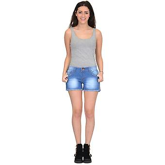 Fitted Stretch Faded Denim Hot Pants Shorts Frayed Ends