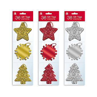 36 Glitter and Luxury Foil Xmas Gift Tags With Thread Various Colours