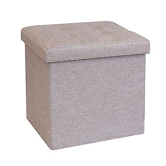 Foldable Fabric Ottoman, Light Brown 38cm