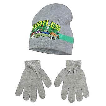 Ninja turtles boys hat and gloves set