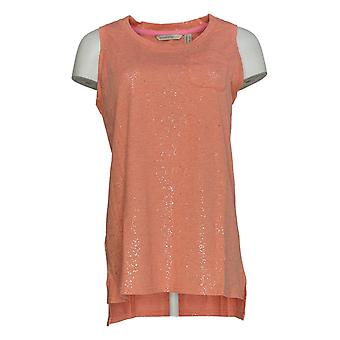 Isaac Mizrahi Live! Women's Top Pocket Tank with Side Slits Orange A290890
