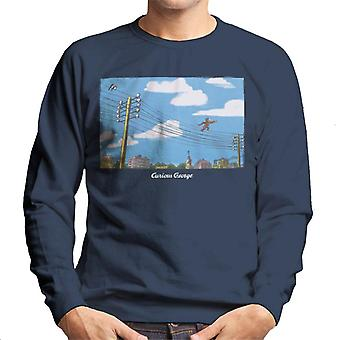 Curieux George Walking On Telephone Lines Men's Sweatshirt