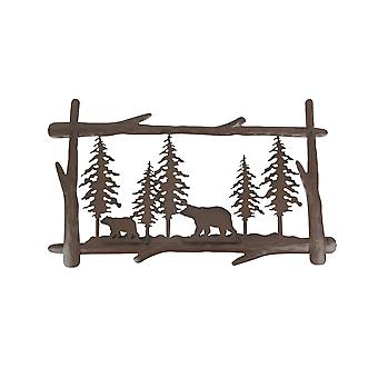 Rustic Brown Metal Black Bears in Forest Silhouette Wall Hanging With Built In Hooks