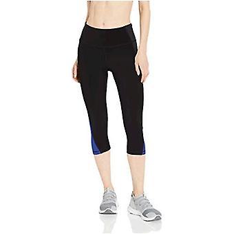Essentials Frauen's Colorblock Performance Mid-Rise Capri Aktive Legging, schwarz/Kohle Heather/blau, groß