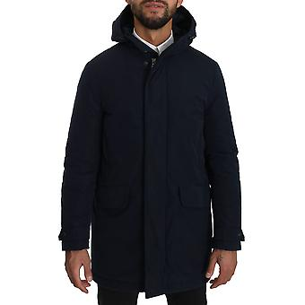 Blue hooded long polyester coat jacket