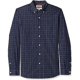 Goodthreads Miehet&s Slim-Fit Pitkähihainen ruudullinen popliini paita, -navy windowpane, ...