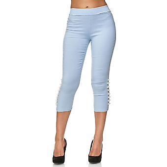 Ladies Capri Pants Skinny Treggings Hipsters Shorts Jeggings Cropped Pearls