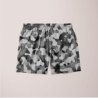 Grey pattern camouflage & mosaic style plakat shorts