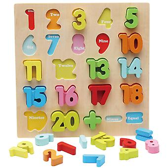 Homemiyn Wooden Colorful Three-dimensional Numbers And Letters Puzzle Children's Educational Game Board