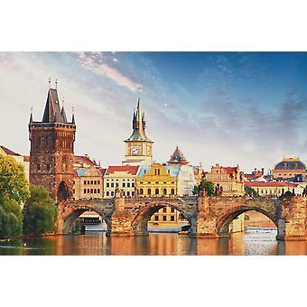 Taustakuva seinämaalaus Kaarlen silta Prahassa (Tšekki)