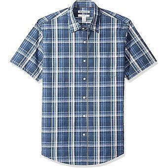 Essentials Men & apos;s Slim-Fit Short-sleeve عارضة قميص بوبلين, Grey Check ...