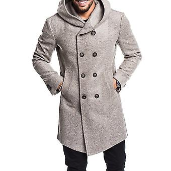 Mens Trench Coat, Jacket Spring Autumn Mens Overcoats, Casual Solid Color,