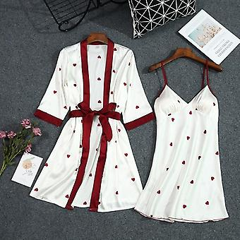 Summer New Print Robe Set With Belt Chest Pad Sexy Bathrobe Satin Soft Touch