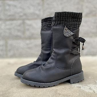 Women Winter/autumn Flat Heel Boot Fashion Knitting Patchwork Shoes