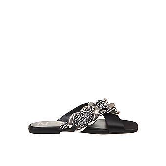 N°21 21ecp0nv11060x060 Women's Black Leather Sandals