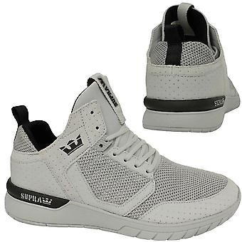 Supra Method Lace Up Mens Casual Mid Top Grey Trainers 08022 056 D133