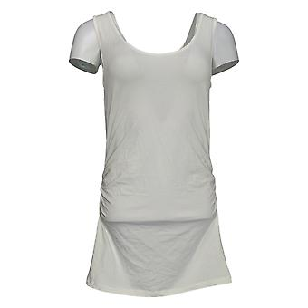 All Worthy Women's Top Hunter McGrady Long Tank W/ Ruching White A377966